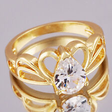 9k Yellow Gold Plated Womens crown Clear Rhinestone Heart Ring jewelry Size 5