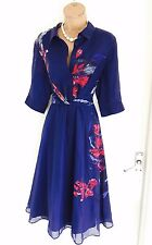 New ALMOST FAMOUS Navy Blossom Print Shirt Dress Uk 16/ Summer Casual