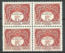 French West Africa 1947 Sc# J1 Postage due block 4 MNH