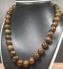 Brown 100% Natural A JADE JADEITE Bead Beads Necklace 259448 13 mm 18-22 inches