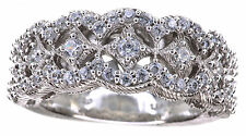 Judith Ripka Clear Diamonique Lace Design Berge Sterling Silver Band Ring Size 6
