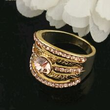 18k Yellow Gold Plated Size 7.5  Garnet Ruby Austrian Crystal Ring Gift D080