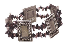 Chic Rustic Chrome Square & Black Stone & Stretchable Bracelet(Zx107)
