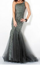 NWT Jovani Full-Length One Shoulder Sequined Prom/Formal GUNMETAL GRAY Size 0