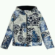 NWT NEW Young Versace Boys Blue White 'Barocco' Print Zip-Up Hooded Top 6y $300