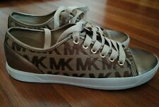 New WOMENS MICHAEL KORS MK LOGO CITY  SHOES Bronze Brown SNEAKERS Brown SIZE 7