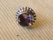 SINGLE STERLING SILVER 8mm ROUND STUD EARRINGwithAMETHYST FACETED STONE £4.50nwt