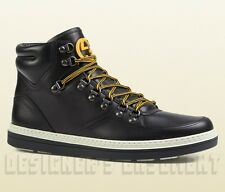GUCCI Mens 7.5G* black leather GREENFIELD Trekking BOOTS sneakers NIB Auth $870