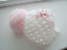 baby girl hat early baby/premature  white crochet pink pom pom flower hand made