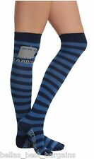 Dr Doctor Who Women's Over The Knee High Socks 1 Pair - Tardis Blue Stripes