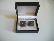 Mens Black Gold Finish Clear Simulated Lab Diamond Square Cuff Links