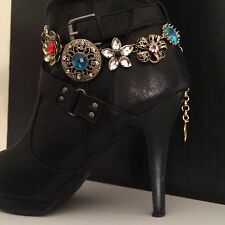 Boot Bling Jewelry Bracelet Dark Gold Tone Flowers With Glass Stones