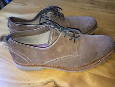 Mens Clarks UK 7 lightweight suede leather lace-up shoes brown summer