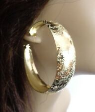 LARGE 2.5 INCH THICK HOOP EARRINGS FROSTED GOLD TONE HOOP EARRINGS LIGHTWEIGHT