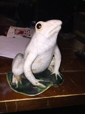 """A Fine Porcelain Ceramic Frog On Lily Pad Signed Chinese? 8"""" Tall"""