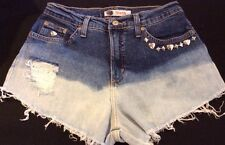 High Waisted 6 Denim Distressed Studded Studded  Shorts Festival  Studs Heart