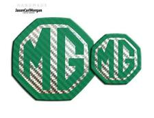 MG ZR LE500 MK2 Front & Rear Insert Badge Logo Set 59mm/95mm Green Carbon/Silver