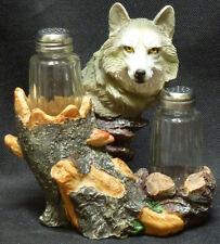 "LOBO  SPICE     Wolf  Salt N Pepper H6.5"" Statue Figure"