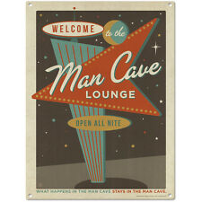 Man Cave Lounge Open All Nite Metal Sign Home Bar Decor Vintage Style 12 x 16