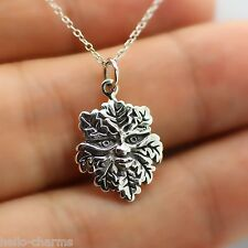 GREEN MAN NECKLACE - 925 Sterling Silver - Nature Celtic God Greenman Charm NEW