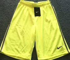 NWT Nike Boys Youth M Neon Yellow/Gray Double Layer Mesh Shorts Medium