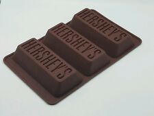 Hershey's Chocolate Bar Silicone Candy Cake Bread Mold 3 Slots Spaces 10 Inches