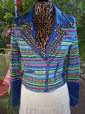 Cute Bohemian Southwestern Guatemalan Blanket Aztec Faux Leather Studded Jacket