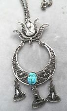 Egyptian Design Silver Filigree Necklace W, Scarab & King Tut Design