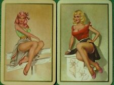 Pinup Girl Art Sexy Blonde & Redhead Leg Shows Swap Cards Vintage Originals WOW