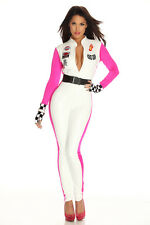 Womens Racing Costume Car Driver Nascar Ladies Racer Halloween Fancy Dress S/M