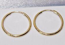 9 ct oro giallo donna 16mm traversina Hoop Orecchini