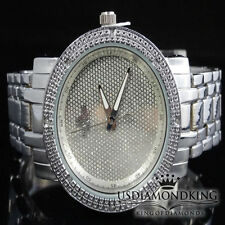 LADIES WOMEN'S NEW WHITE GOLD FINISH 8 REAL GENUINE DIAMOND METAL WRIST WATCH