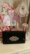 Black gold ornate buckle detail glamarous clutch large fold bag by river island