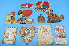 Vintage 1930's Lot of 10 Die Cut Valentine Day Greeting Cards (Lot 2)