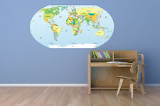 """Political World Map Wall Decal World Country Vinyl Art 56""""x29"""" MADE IN USA"""