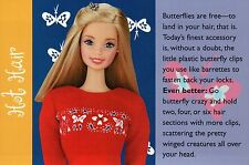 """ Butterflies "" -- Fashion Collectible Photo Card Mattel - Barbie Doll Postcard"