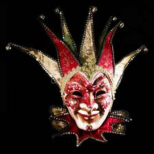 Venetian Fabric Embroidery Masquerade Theater Jester Mask for Men M7321 [/Red]