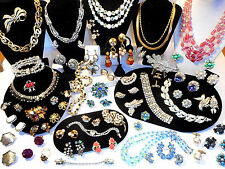 High End Vintage 54pc COSTUME JEWELRY LOT Rhinestone 8 SETS Earrings Brooches &