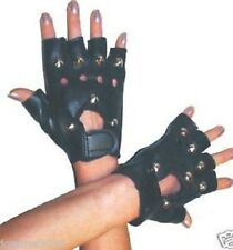 NEW BLACK ADULT PUNK ROCKER 70s 80s STUDDED FANCY DRESS GLOVES COSTUME ACCESSORY