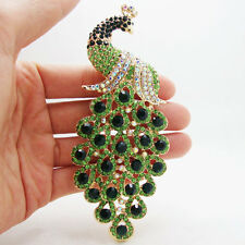 Elegant Peacock Bird Gold-plated Brooch Pin Pendant Green Rhinestone Crystal