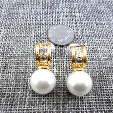 Boucles d`Oreilles Clous Doré Perle Blanc Cristal Class Retro Mariage CC 8