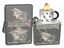 Zippo Lighter 28961 Black Ice Gothic Dragon Anne Stokes Windproof Pocket New