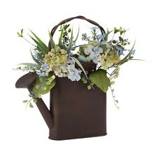 """RAZ Imports~17"""" FLORAL BIRD NEST IN METAL WATERING CAN~Spring/Easter/Centerpiece"""