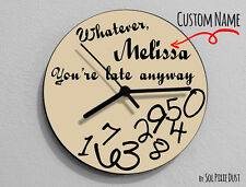 Custom Name Whatever, I'm late anyways Beige - Wall Clock