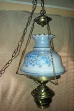 VINTAGE HANGING SWAG GONE WITH THE WIND HURRICANE VICTORIAN LAMP ~ FLORAL