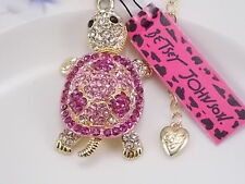 Betsey Johnson fashion jewelry Cute Pink Crystal turtle pendant necklace # Fwg