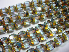 25  8mm Czech Glass Faceted Tube Alexandrite Picasso beads