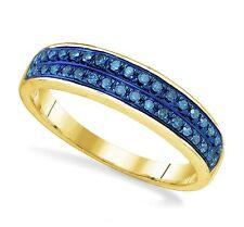 Perfect! 100% 10K Yellow Gold Blue Diamond Fashion Band Ring .21ct Dual Row