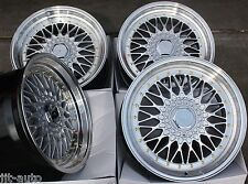 "17"" RS SILVER & POLISHED STYLE DEEP DISH ALLOY WHEELS 4X100 EURO STYLE 17 INCH 4"