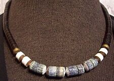 Blue Denim Sponge Coral Puka Heishi Beads Shell Necklace GOLD Accents